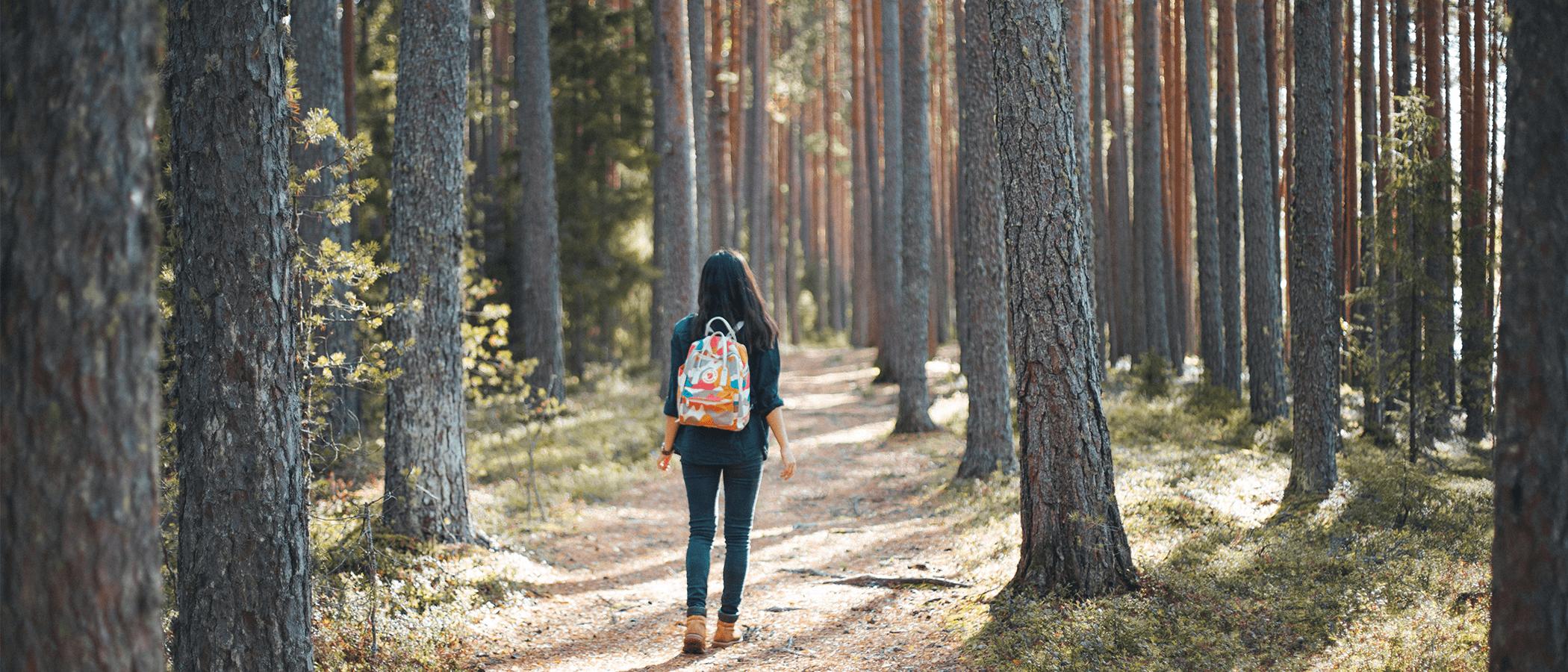 Henkilö kävelee metsässä