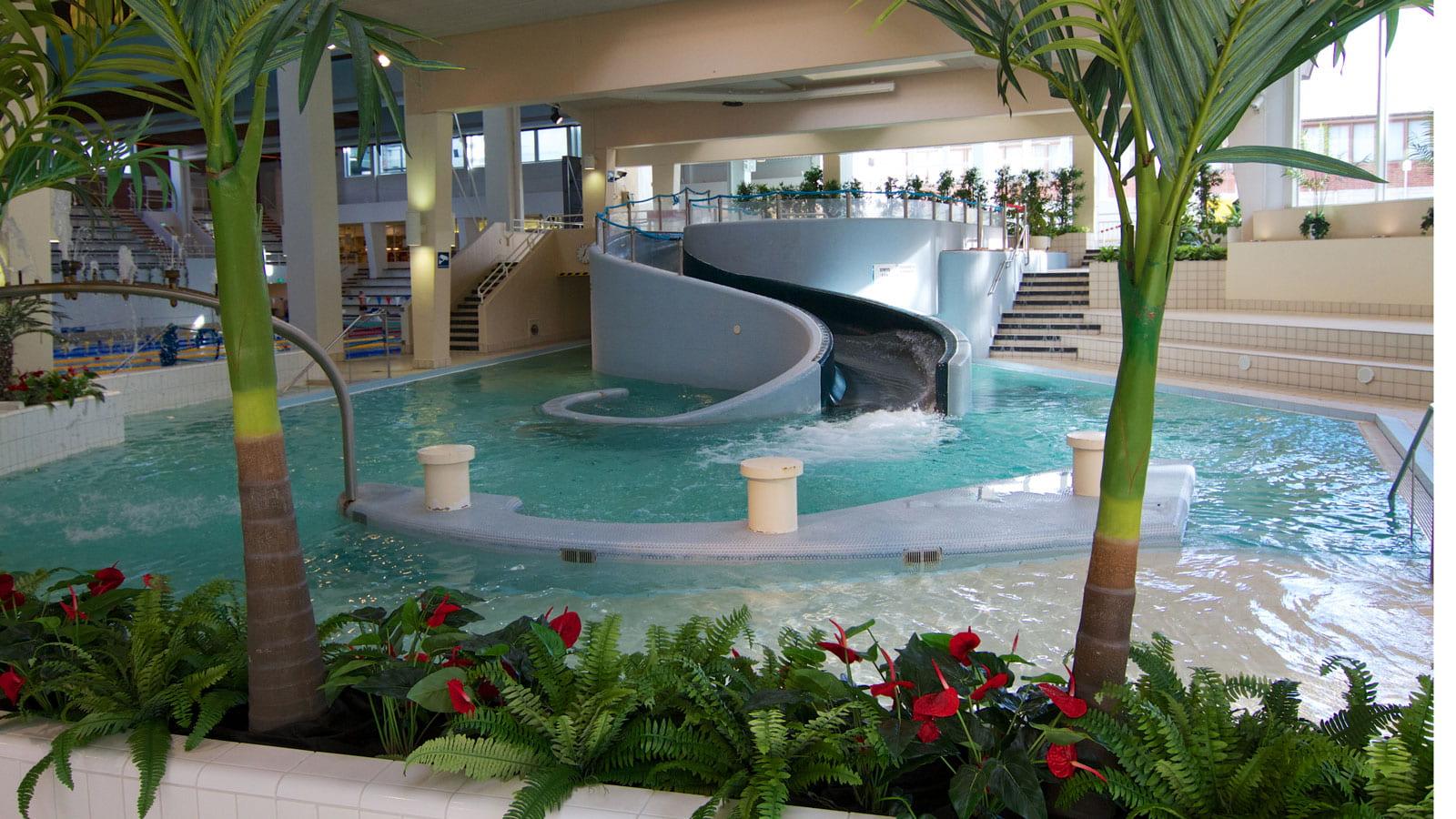 AaltoAlvari's swimming pool and water slide.