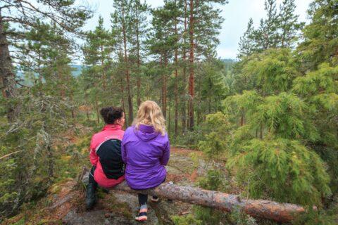 Kaksi henkilöä istuu metsässä.