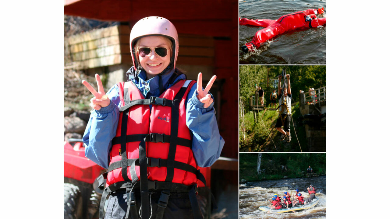 Photo collage with four picture. Person is smiling in the first picture. In the second picture person is floating in the water. In the third picture person is zip lining. In the fourth picture persons are rafting.