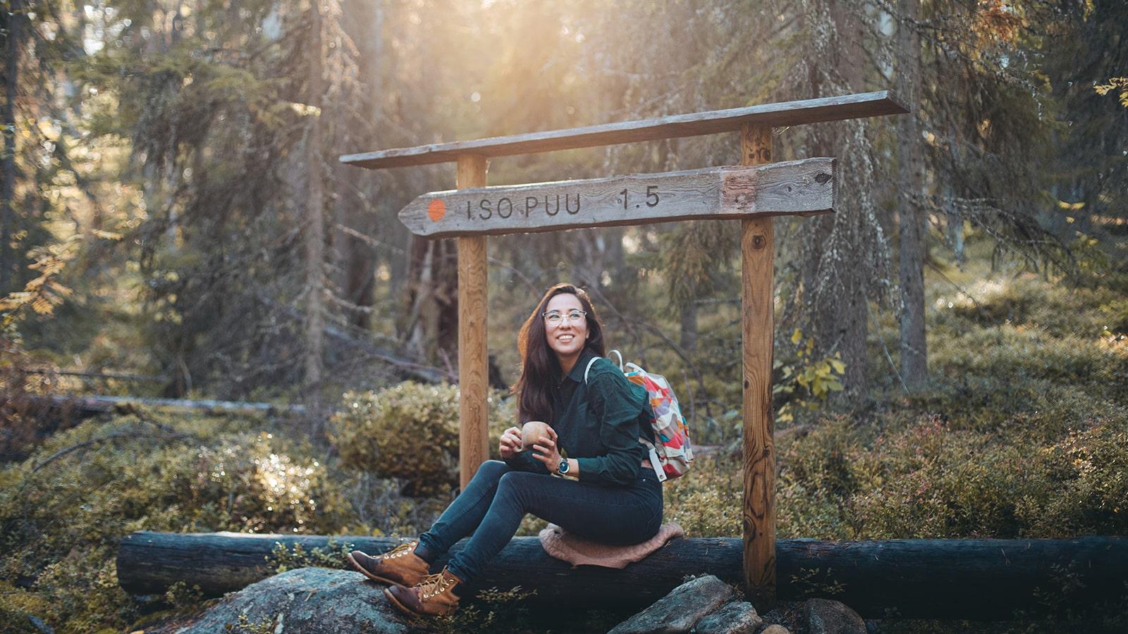 Person camping at Pyhä-Häkki National Park