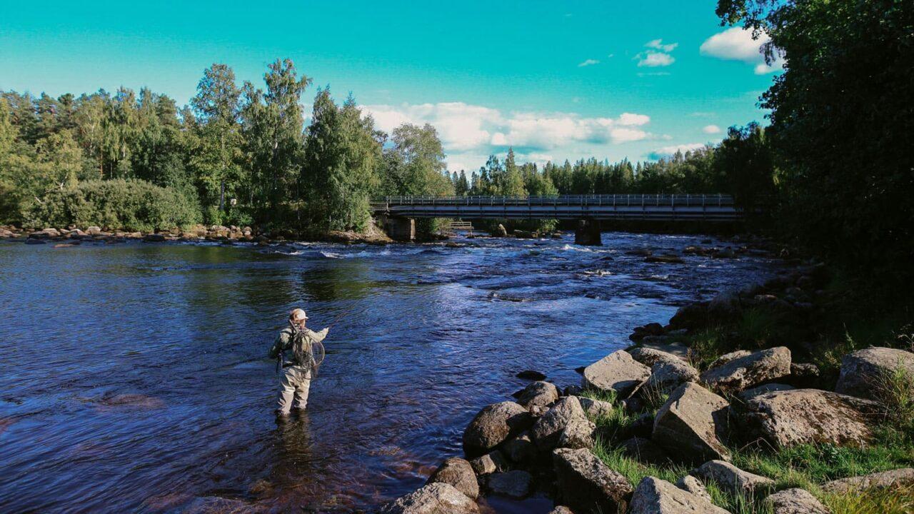 Person fishing in Kuusa river.