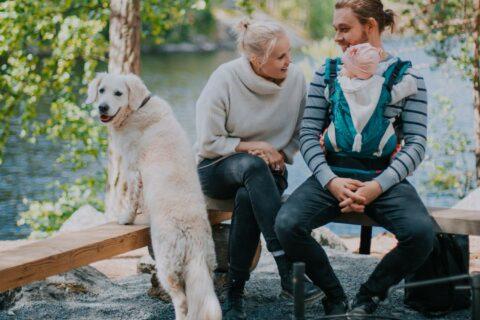 Koira ja perhe Isojärven kansallispuiston laavulla