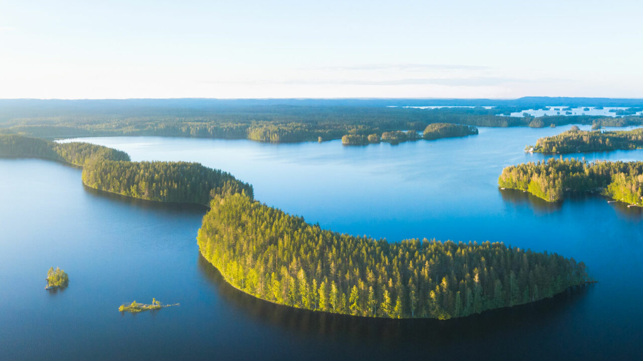 Joutsniemi Leivonmäen kansallipuistossa ilmasta kuvattuna