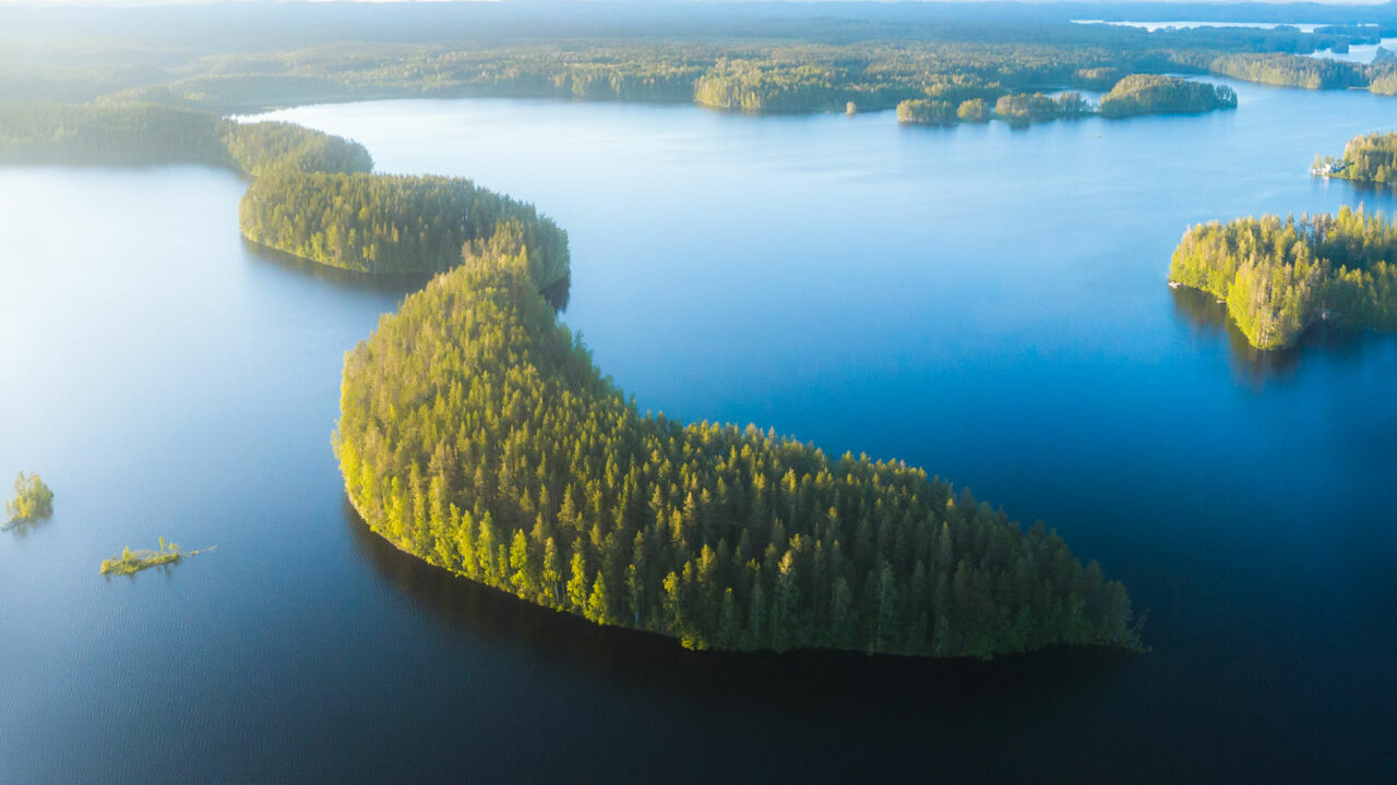 Aerial photo of Joutsniemi in the Leivonmäki National Park