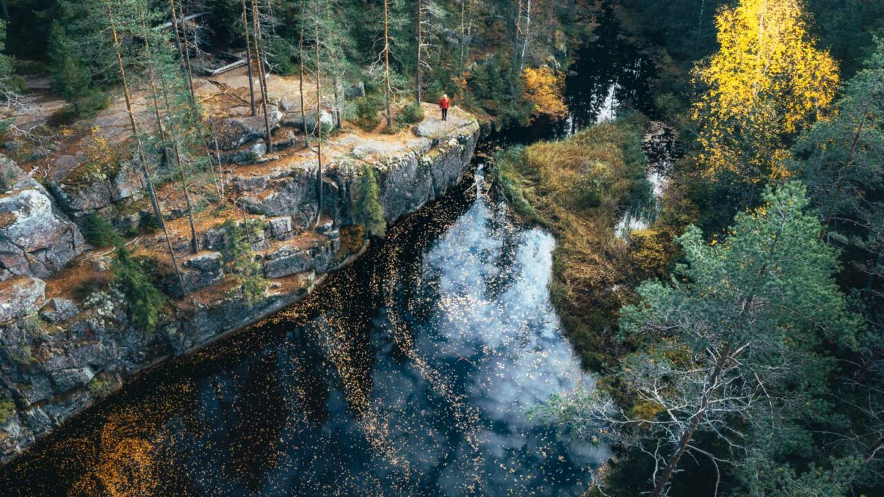 Flygfoto av Karhunahas, i Petäjävesi.