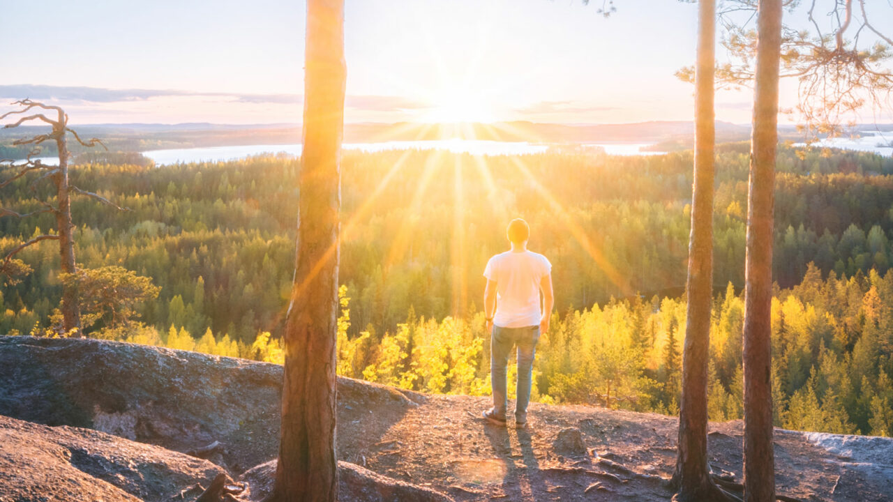 Henkilö katselee metsämaisemaa