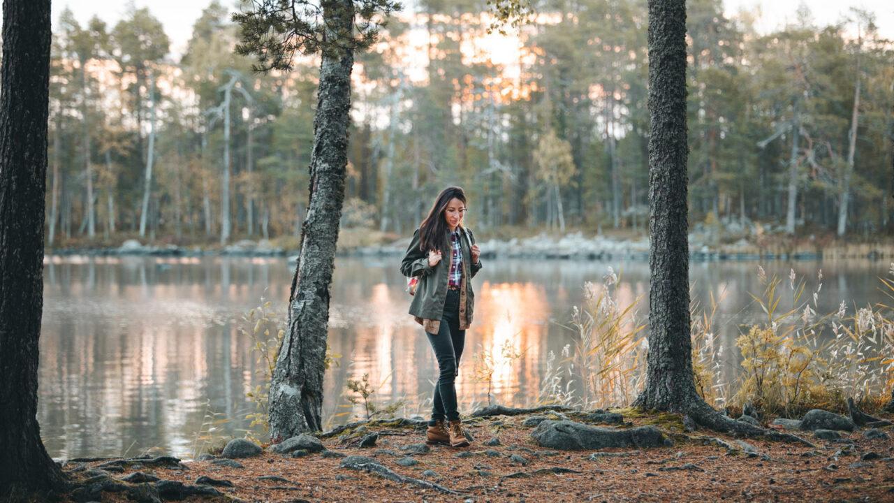 Person hiking in Salamjärvi National Park