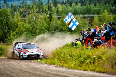 A racing car and some audience at the Rally Finland Event