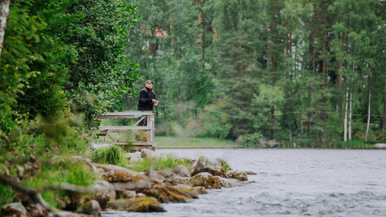 A person is fishing