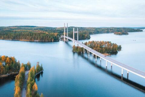 Aerial photo of Jyväskylä and bridge Kärkisten silta in Jyväskylä
