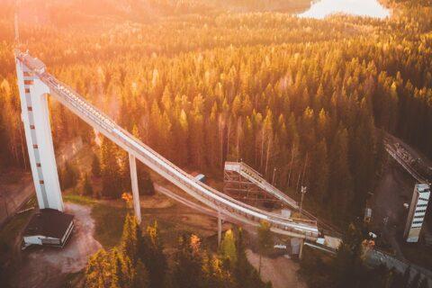 Matti Nykänen's ski jump hill aerial photo