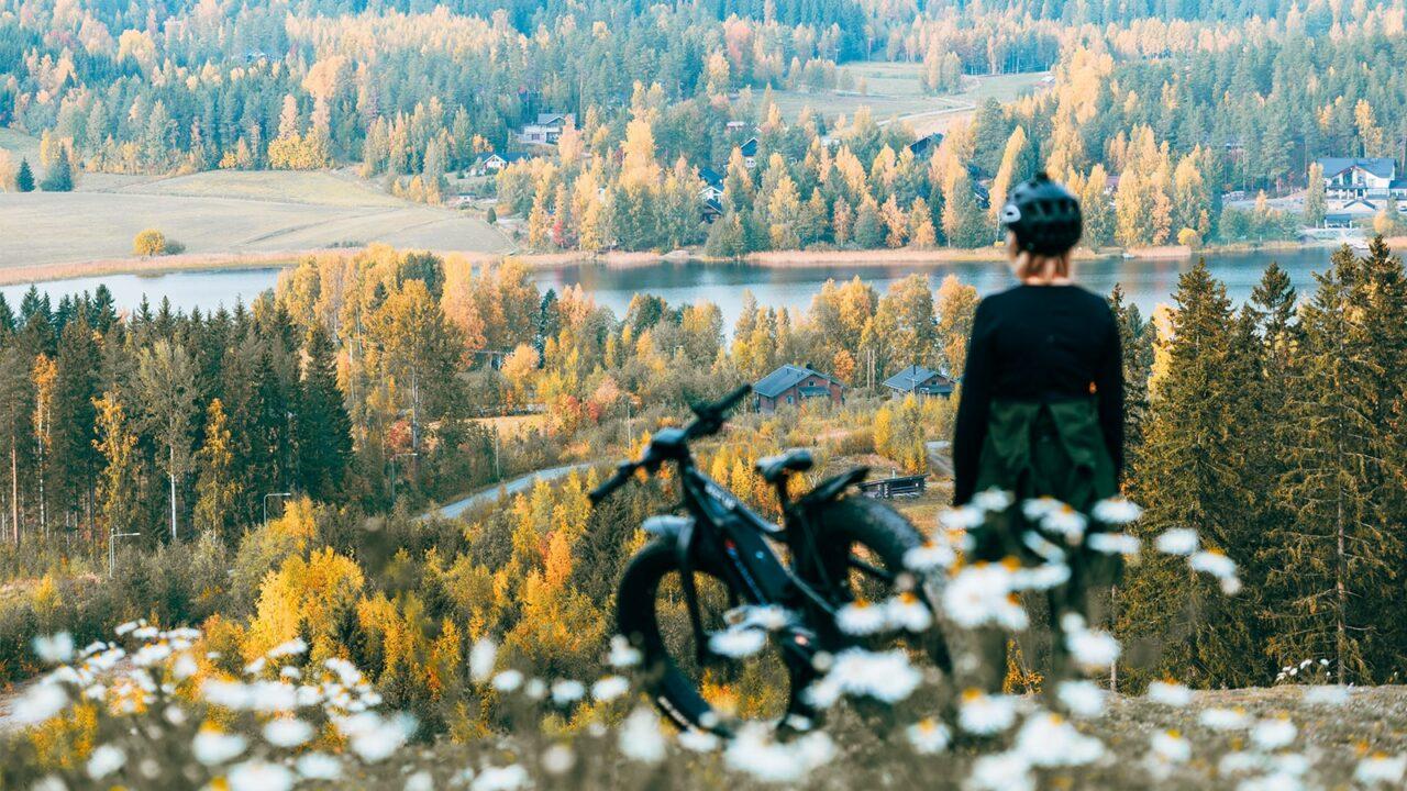 Henkilö katsoo metsämaisemaa mäen päällä