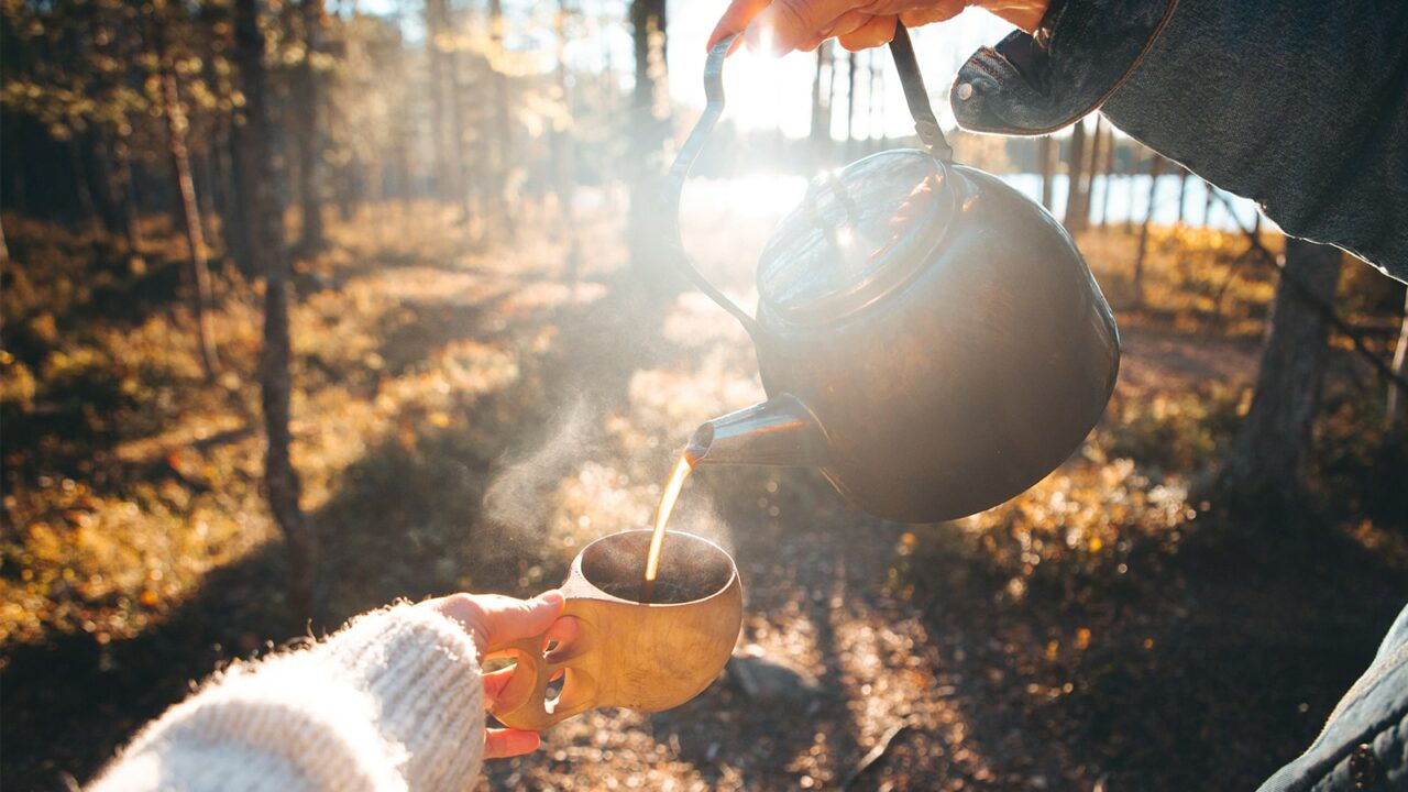 Pouring coffee to cup in nature