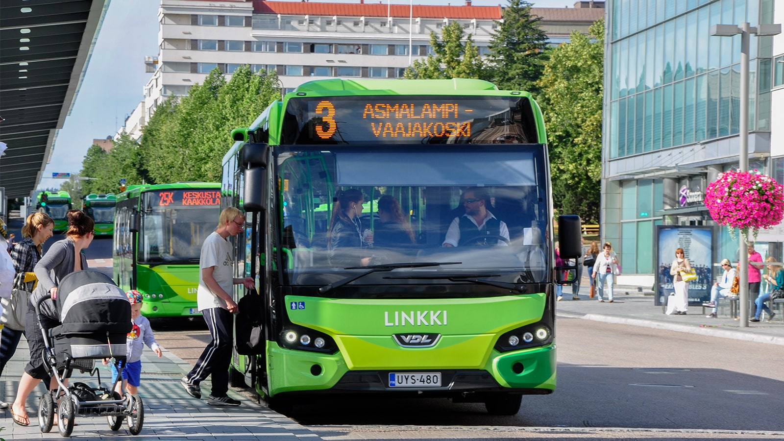 Person stepping into a bus at Jyväskylä