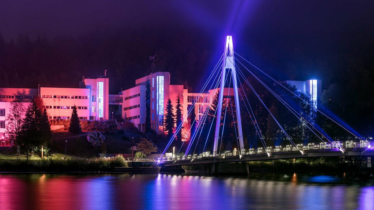 Illuminated bridge in Jyväskylä