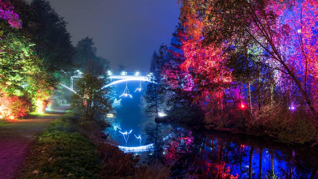 Valaistu silta Jyväskylässä