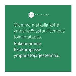 Ekokompassin logo: Olemme matkalla kohti ympäristövastuullisempaa toimintatapaa. Rakennamme Ekokompassi-ympäristöjärjestelmää.