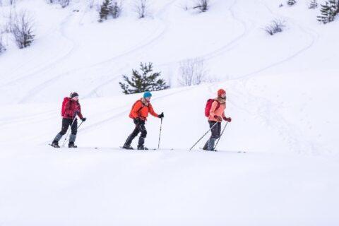 Kolme retkeilijää liukulumikenkäilemässä Leivonmäen kansallispuistossa.