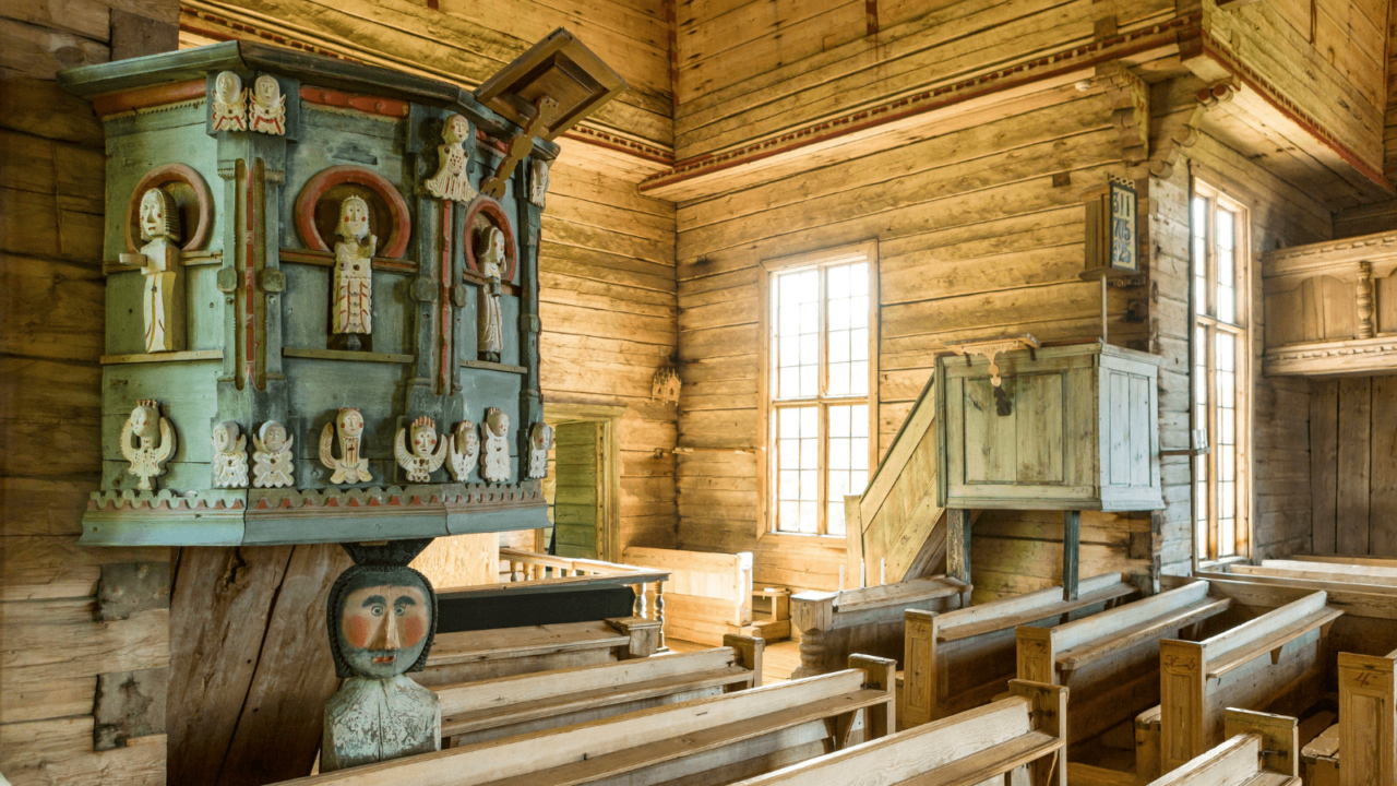 Art from inside the Petäjävesi Old Church, photographed from the inside