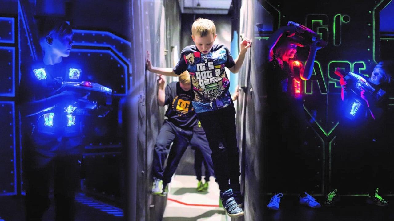 Lapsia lasertaistelupeli Megazonessa.